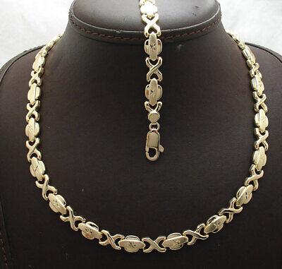 Hugs and Kisses XOXO Design Bracelet Necklace Set 14K Yellow Gold Clad Silver