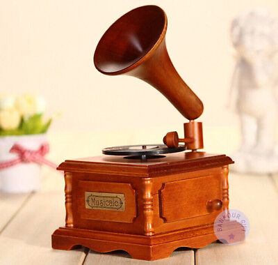 """""""Canon in D"""" Wooden Gramophone Music Box With Sankyo Musical Movement"""
