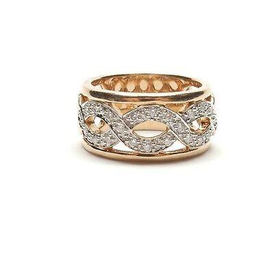 Diamond Celtic Ring Twist 9 Carat Yellow Gold 8.8g