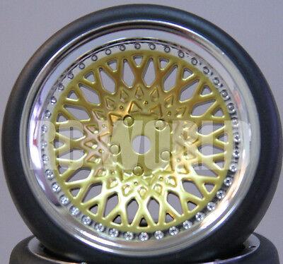 RC Car 1/10 DRIFT WHEELS TIRES Package 9MM Offset GOLD w/ CHROME LIP  *SET OF 4*