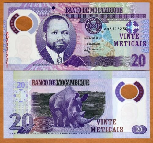 Mozambique, 20 Meticais 2011, P-149a, POLYMER, AB-Prefix, UNC > Rhino