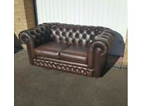 Thomas Lloyd Brown Leather Chesterfield Sofa