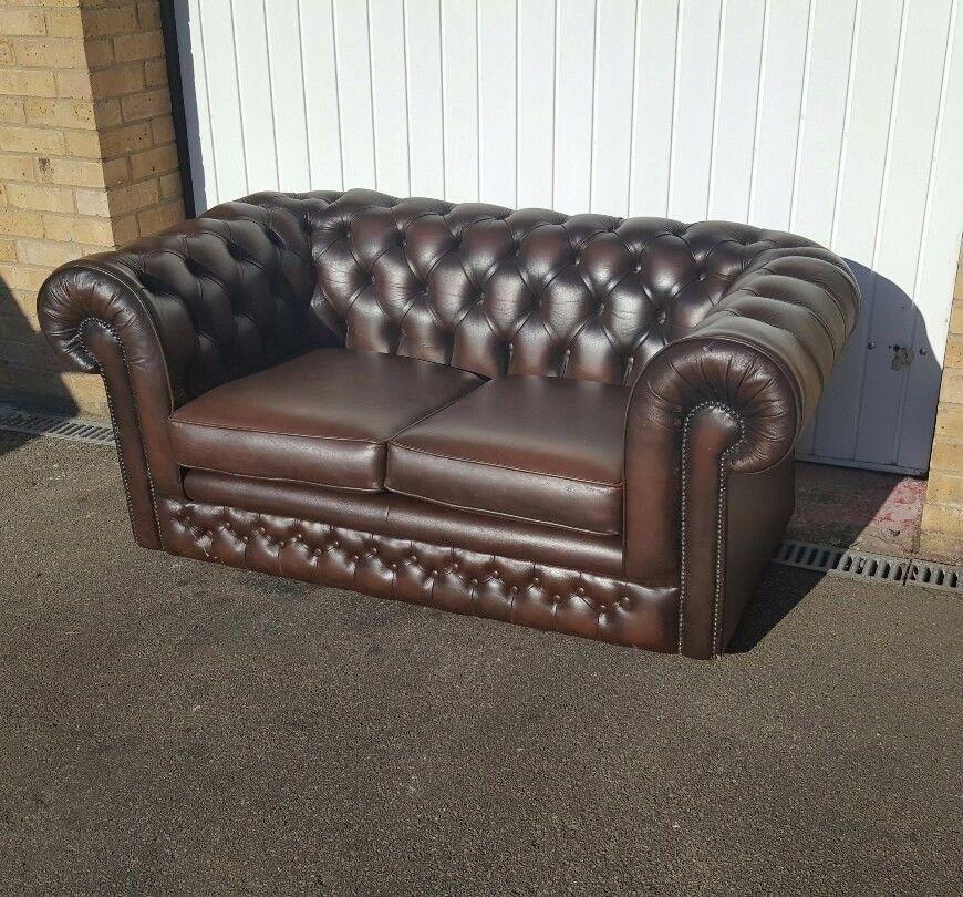 Thomas Lloyd Brown Leather Chesterfield Sofa
