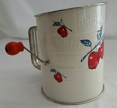 Vintage Bromwell's 3 Cup Flour Sifter, White w/Red Apples. Wood Handle