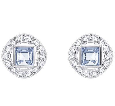 Swarovski 5352048 Angelic Rhodium Plated Blue Crystal Stud Earrings 1cm RRP $89