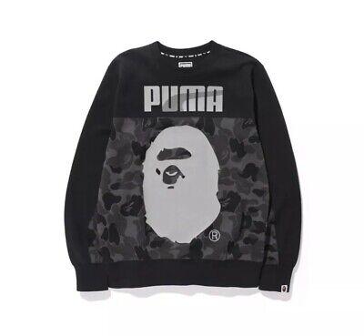 Bape X Puma Black Camo Logo Mens L A Bathing Ape 569620-01 Crewneck Sweatshirt