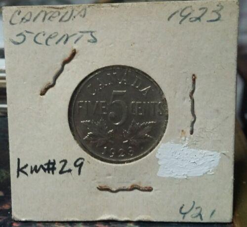 Very nice1923 XF Canada 5 cents km#29 Nickel 21.2 mm Look & bid or buy it now!!!