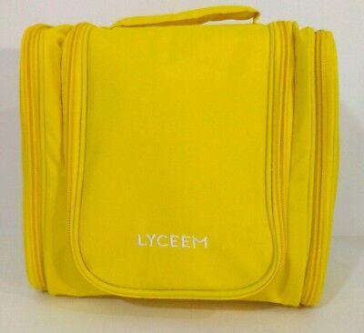 New Lyceem 3 Space Hanging Hook Toiletry Yellow Travel Organizer Waterproof Bag