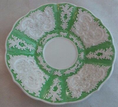 ANTIQUE MEISSEN GREEN FLORAL COFFEE CUP LINER
