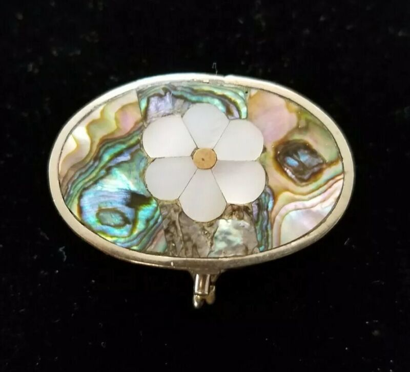 Alpaca Mexico Abalone Mother of Pearl Round Hinged Trinket Pill Box