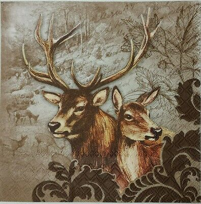 DEERS COUPLE 2 single paper napkins for decoupage LUNCH SIZE  3-ply
