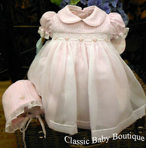 NWT Will'beth Pink Sheer Overlay Smocked Dress Newborn Bonnet Baby Girls Pearls