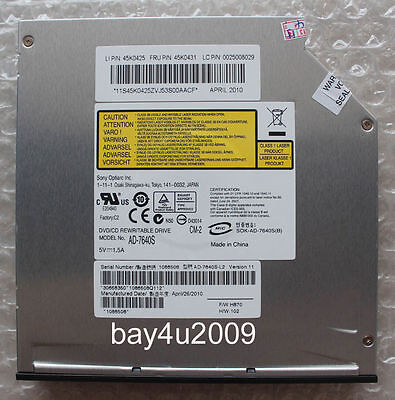 Slot Load DVD RW Burner Drive Sony AD-7640S Re UJ-875A UJ8C5 With Eject Button Slot-load Dvd-rw