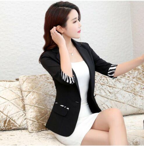 Womens 3//4 Sleeve Striped Short Jacket Formal OL Blazer Korean Formal Business L