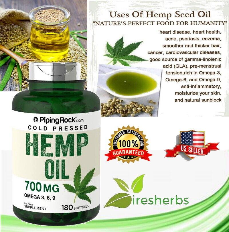 Hemp Seed Oil 700mg Omega 3 6 9 Stress Mood Inflammation Supplement 180 Softgels