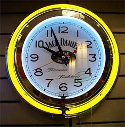 JACK DANIELS 2ND HAND SWEEPS-13 DUAL YELLOW N WHITE NEON CLOCK-PULL CORD/ADAPT
