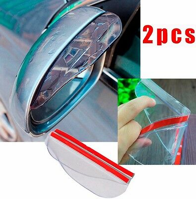 Euro Reversible Board - 2pcs Transparent White Car Rearview Mirror Rain Water Eyebrow Cover Side Shield