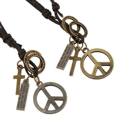 Peace Sign Men Alloy Leather Pendant Necklace