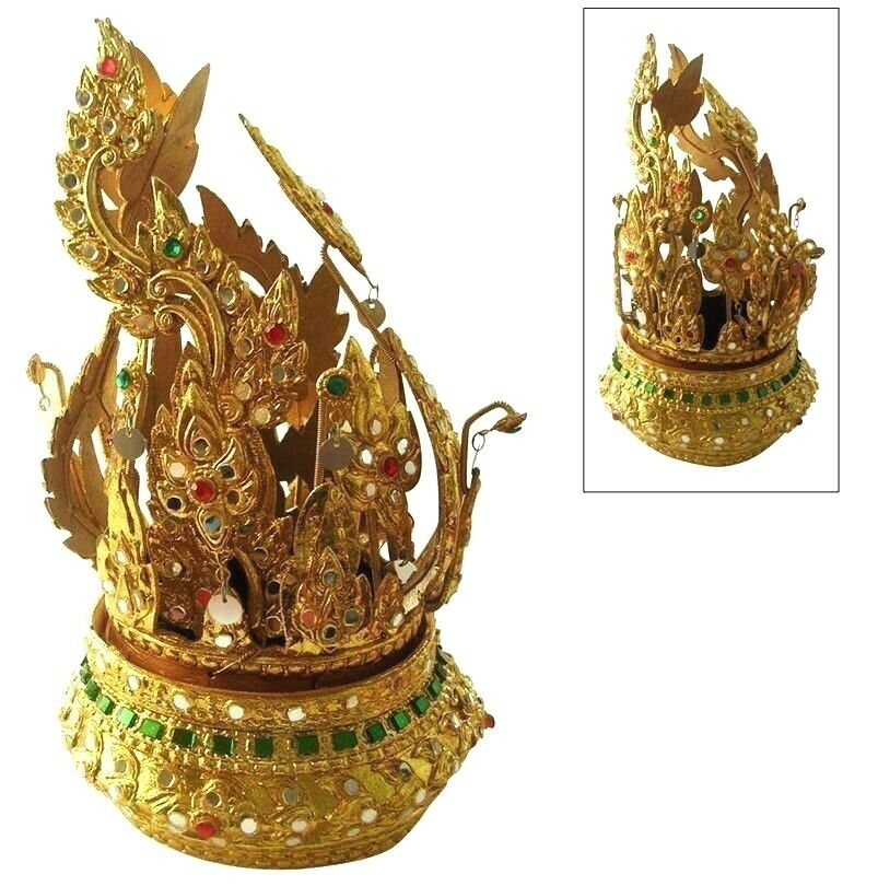 Womens Thai Dance Jewelry Crown Traditional Knot-of-Hair Costume Wedding Theater
