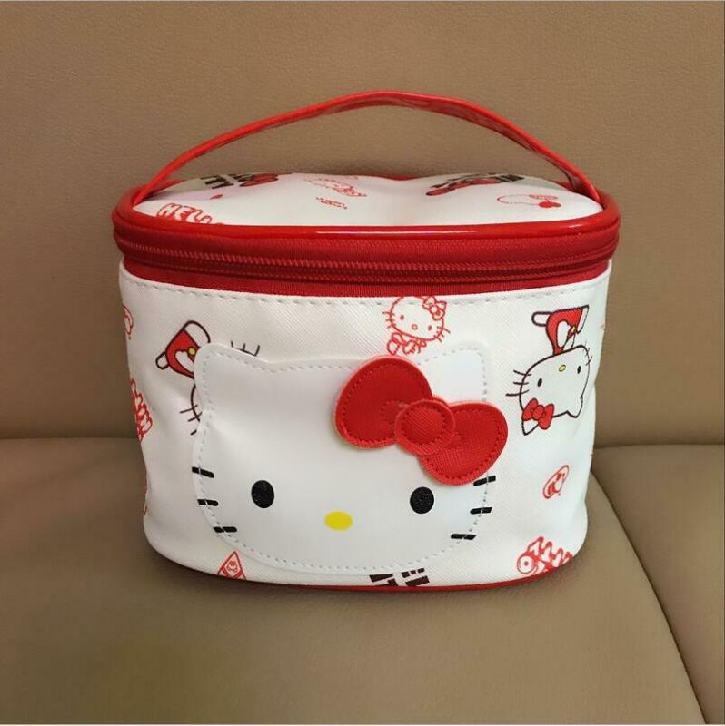 Cute Hello Kitty Storage Case Luggage Travel Makeup Cosmetic Bag Handbag Red
