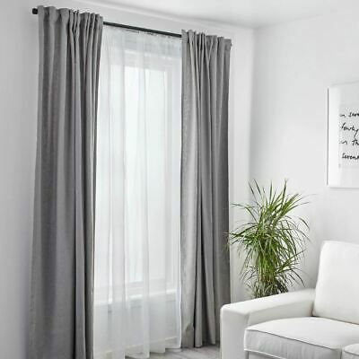 IKEA Teresia Window Panels Transparent Sheer Curtains Pairs 98X57 In. (White)