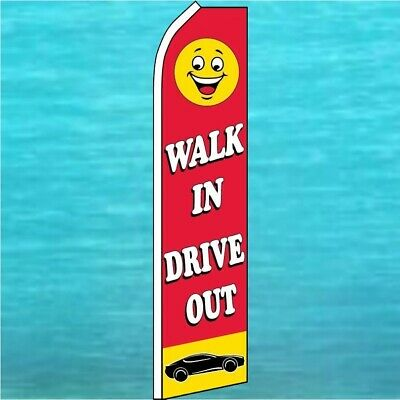 Walk In Drive Out Flutter Flag Used Car Lot Advertising Feather Swooper Banner
