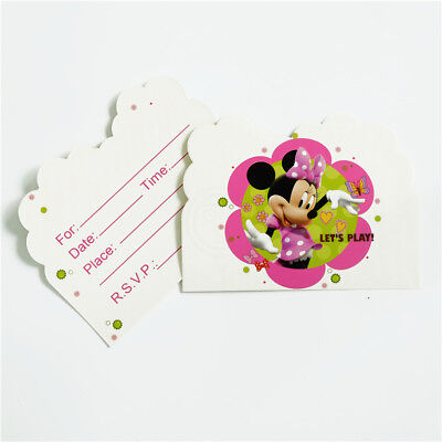 Minnie Mouse Girl Birthday Party Invitations 10 pieces Kids US Seller - Girl Birthday Invitations