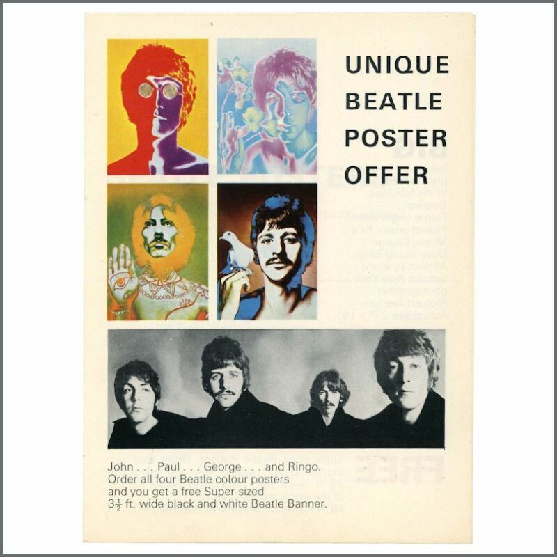 The Beatles 1968 Richard Avedon Posters Promotional Flyer Order Form (UK)