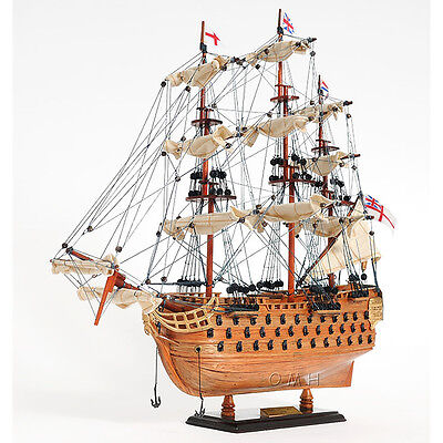 "Lord Nelson's Flagship HMS Victory Wooden Scale Model Tall Ship 20"" Sailboat New"