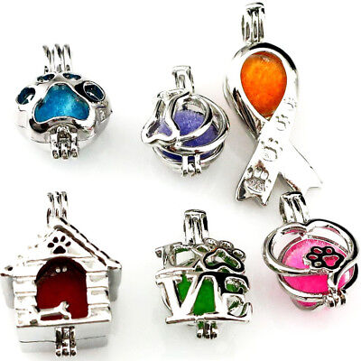 I Love Kitten Cat Footprint Pearl Cage Dog Puppy Beads Cage Locket Pendant Charm (I Love Puppies)