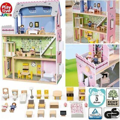PLAYTIVE JUNIOR Puppenhaus XXL 29 Teile Holzpuppenhaus Spiel Kinder Mädchen