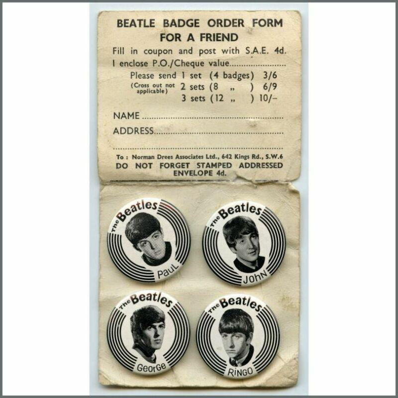 The Beatles 1960s Pin Badges Set & Unused Order Form (UK)