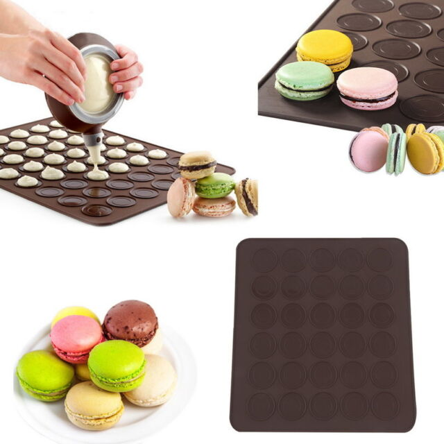Large 30 Macarons/Muffins Silicone Baking Pastry Sheet Mat Cup Cake Mold Tray#MJ