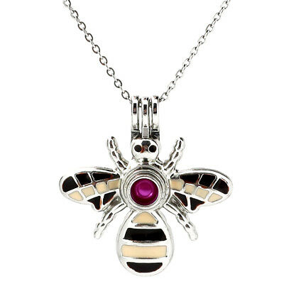 K993 Enamel Honeybee Insect Pearl Beads Cage Locket Pendant Necklace  for sale  Shipping to Canada