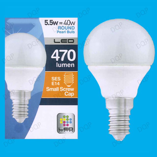 4x 5.5W LED Ultra Low Energy Instant On Pearl Round Golf Light Bulb SES E14 Lamp