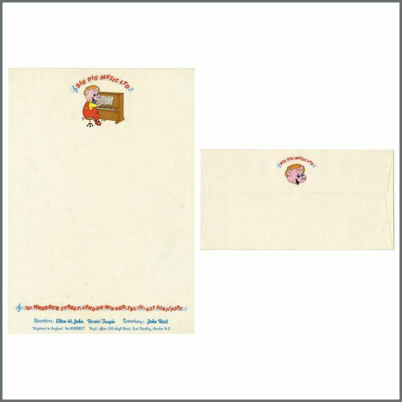 Elton John 1972 Big Pig Music Ltd. Sample Letterhead & Envelope (UK)