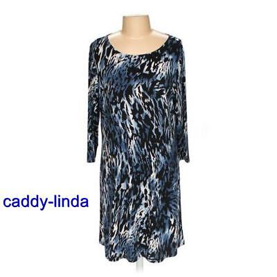 CITIKNITS L BLUE LEOPARD MATTE JERSEY SLINKY DRESS 48