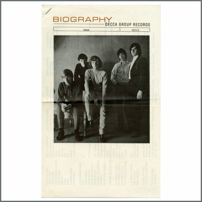 Van Morrison Them 1965 Decca Records Biography Sheets (UK)