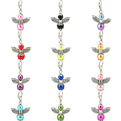 12PCs Colorful Beads Charm Guardian Angel Wings Diy Pendant For Jewelry Gift