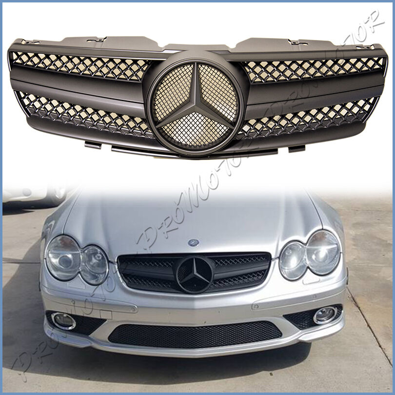 SL65 Type Gloss Black Fin Front Replaced Grille For 03-06 R230 SL55 SL500 SL600