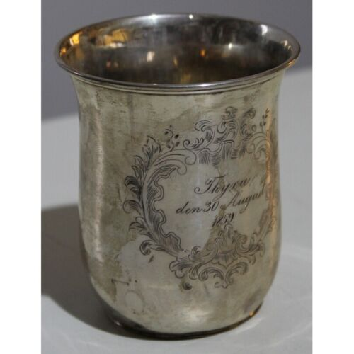 Antique 1859 Original Rare Denmark Cup Engraved Silver Dated Timbale F. DAHL