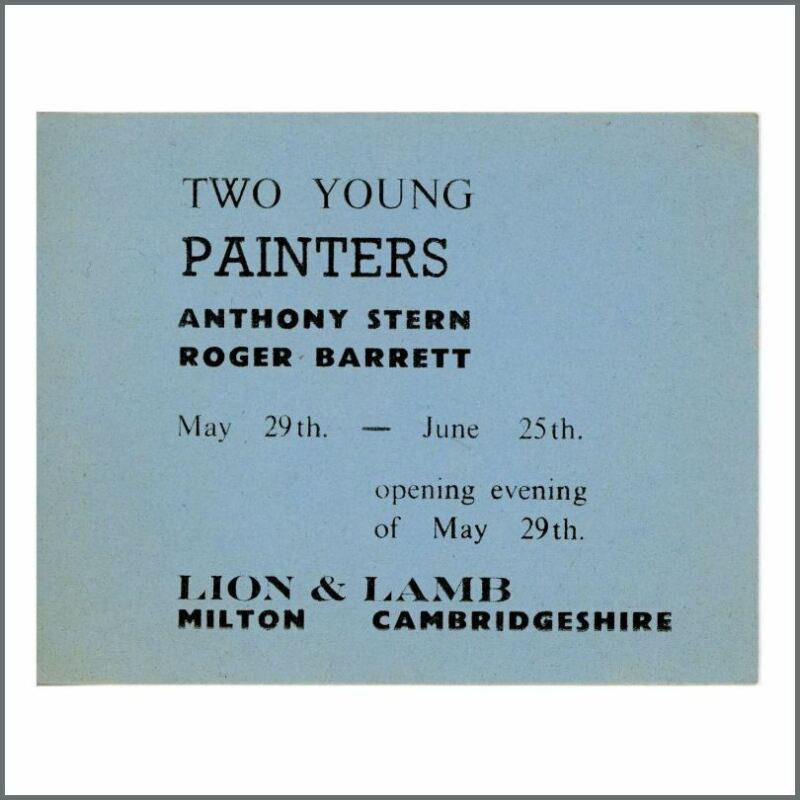 Pink Floyd Syd Barrett 1964 Two Young Painters Art Exhibition Ticket (UK)