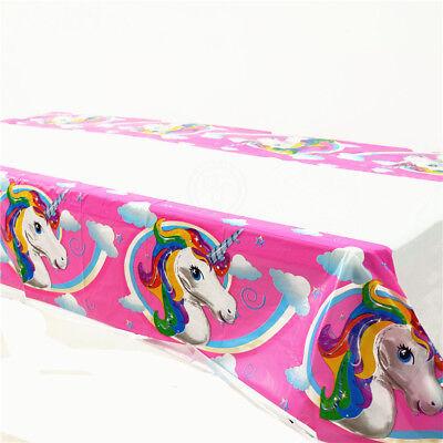 Disposable Tablecloths (Unicorn Disposable Tablecloth Birthday Party Decoration Kids Favor Plastic)