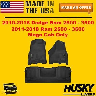 Husky Liners Floor Mats Weatherbeater For 2010-2018 Dodge Ram 2500 3500 Mega Cab