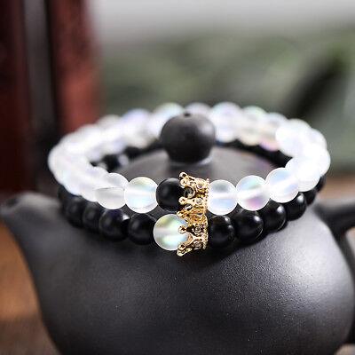 Couples Distance Bracelets Moonstone Stone Bead Crown Men Women Charm Bracelets