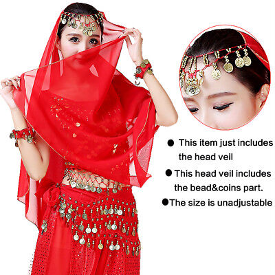 Women Arabian Belly Dance Costume Head Veil Egyptian Bollywood Performance