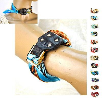 Women Scarf Silk Bracelet Genuine Leather Bangle Fashion Snood Wrap Shawl Wrist
