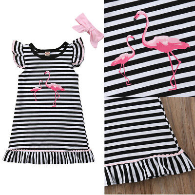 USA Toddler Kids Girls Flamingo Striped Summer Casual Dress Sundress Clothes NEW - Flamingo Girls