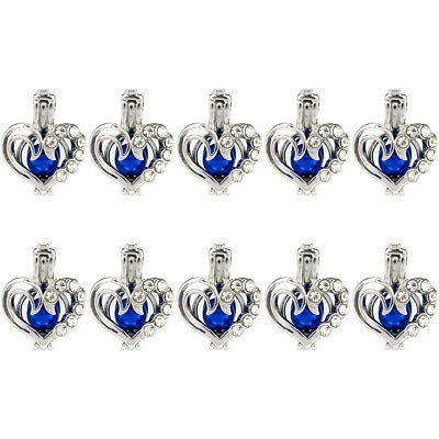 Bulk 10pcs!  Silver Copper Heart Rhinestone Beads Pearl Cage Locket Pendant K952