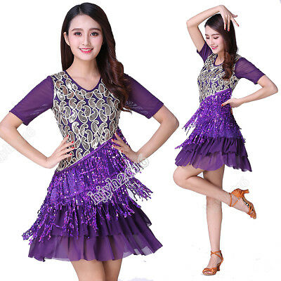 Latin Dance Dress Ballroom Salsa Costume Performance Outfits Sequined Fringes - Ballroom Dance Outfit